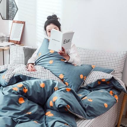 宅家居 2019网红爆款INS简约全棉四件套 床单款 甜橙