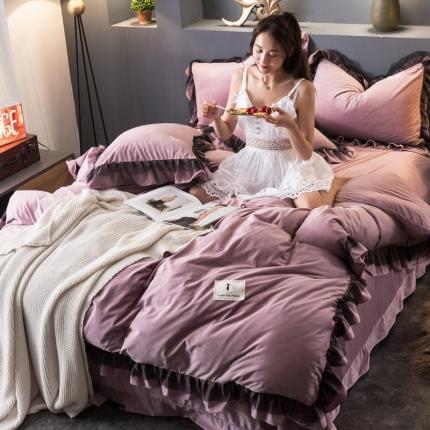 KA家纺宝宝绒四件套保暖水晶绒法莱绒四件套法兰绒 梦幻粉紫