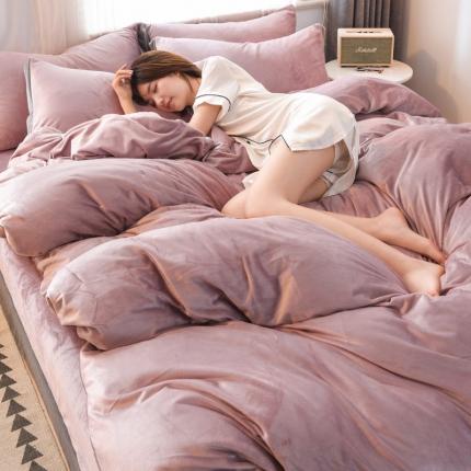 KA家纺 2019时尚款宽边水晶绒四件套 时尚款粉紫