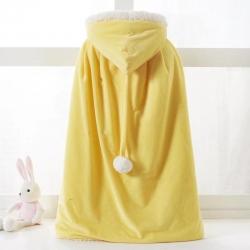 舒梦琪 2019新款儿童羊羔绒披风 黄色