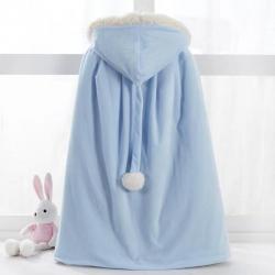舒夢琪 2019新款兒童羊羔絨披風 藍色