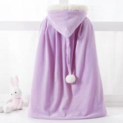 舒夢琪 2019新款兒童羊羔絨披風 紫色