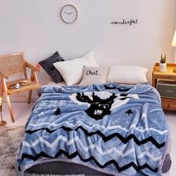 好藝佳 2019新款拉舍爾毛毯學生毯加厚雙層4斤–8斤黑鹿