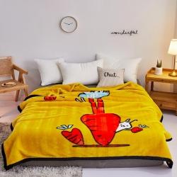 好艺佳 2019新款拉舍尔毛毯学生毯加厚双层4斤–8斤黄萝卜