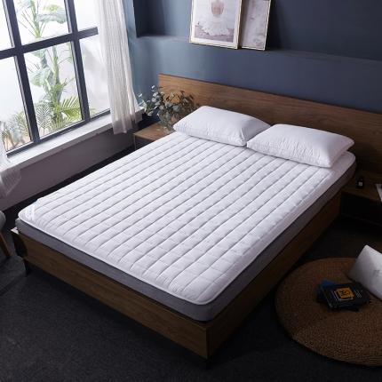 棕康垫业 2019新款全棉床褥方格系列 方格-白色