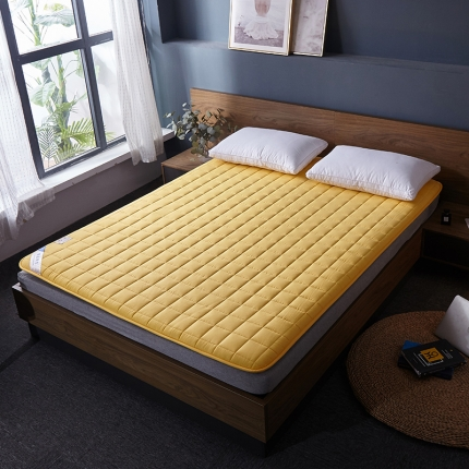 棕康垫业 2019新款全棉床褥方格系列 方格-黄色
