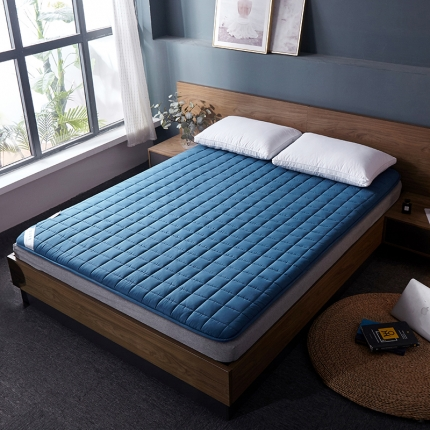 棕康垫业 2019新款全棉床褥方格系列 方格-蓝色