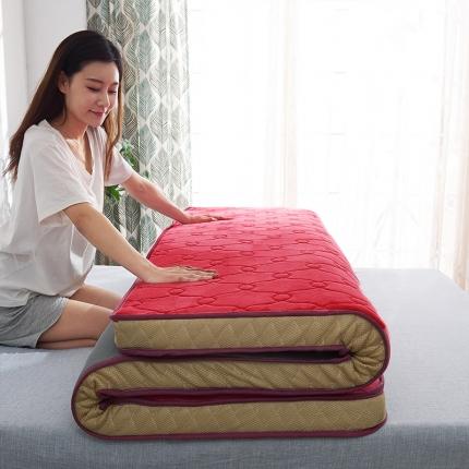 棕康垫业 2019新款法兰绒乳胶床垫 甜馨红