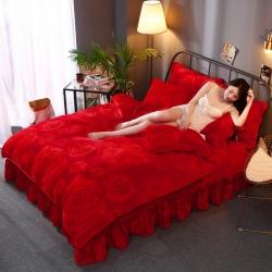 诺梵2019牛奶金貂绒四件套抗静电法莱绒珊瑚绒床裙款大红玫瑰