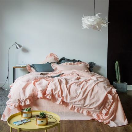 (总)爱尚佳家纺 洛丽塔荷叶边色织水洗棉四件套床笠款