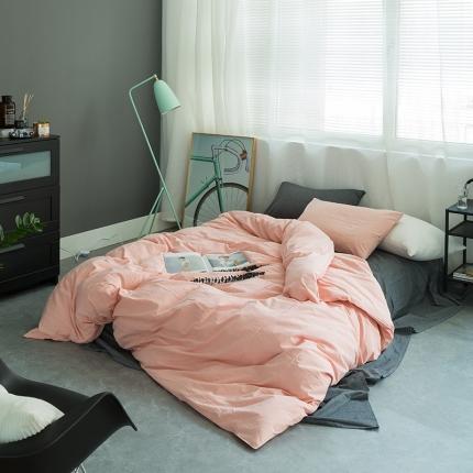 爱尚佳家纺 全棉色织精梳水洗棉多规格四件套床单款 深灰+粉