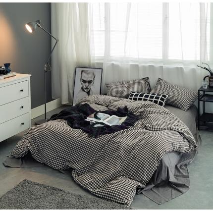 爱尚佳家纺 全棉色织精梳水洗棉多规格四件套床单款 黑小格