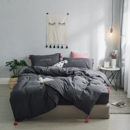 爱尚佳2018新款清新微甜球球款水洗棉床单款四件套 小灰格