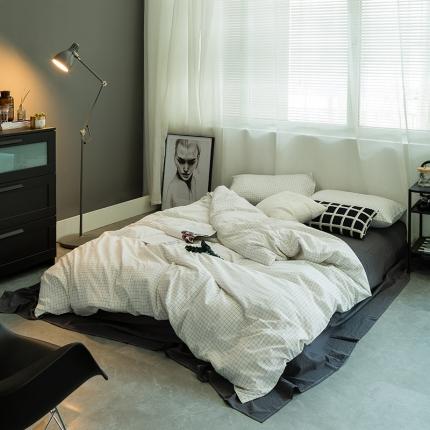 爱尚佳家纺 全棉色织精梳水洗棉多规格四件套床单款 小白格