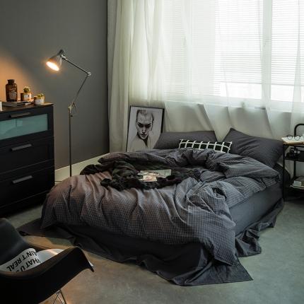 爱尚佳家纺 全棉色织精梳水洗棉多规格四件套床单款 小灰格