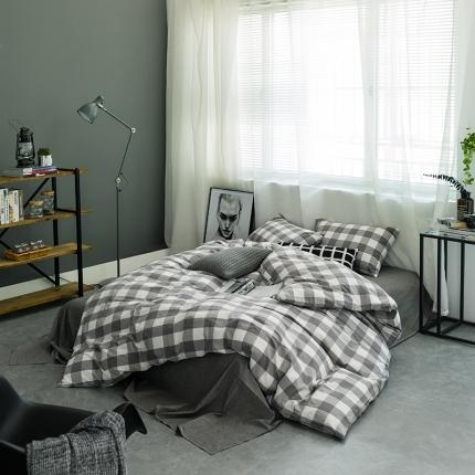 爱尚佳家纺 全棉色织精梳水洗棉多规格四件套床单款 灰中格