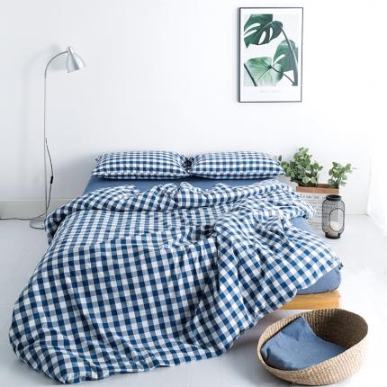爱尚佳家纺 2018新款 水洗棉新增8款床单款 蓝中格