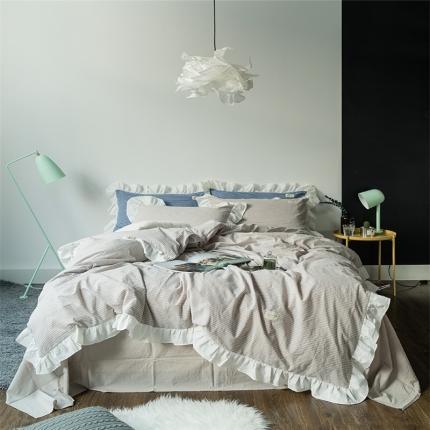爱尚佳家纺 洛丽塔荷叶边色织水洗棉四件套床单款洛丽塔-米细条