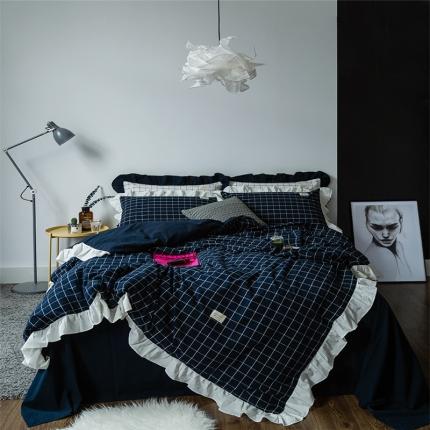 爱尚佳家纺 洛丽塔荷叶边色织水洗棉四件套床单款洛丽塔-暖冬格