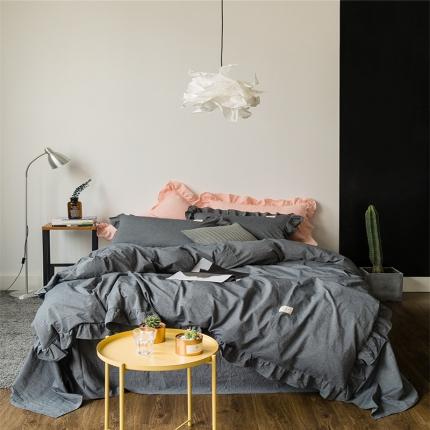 爱尚佳家纺 洛丽塔荷叶边色织水洗棉四件套床单款 洛丽塔-深灰