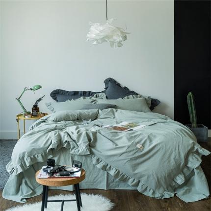 爱尚佳家纺 洛丽塔荷叶边色织水洗棉四件套床单款 洛丽塔-水绿