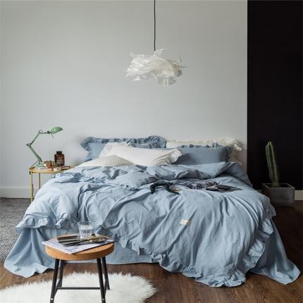 爱尚佳家纺 洛丽塔荷叶边色织水洗棉四件套床单款 洛丽塔-天兰