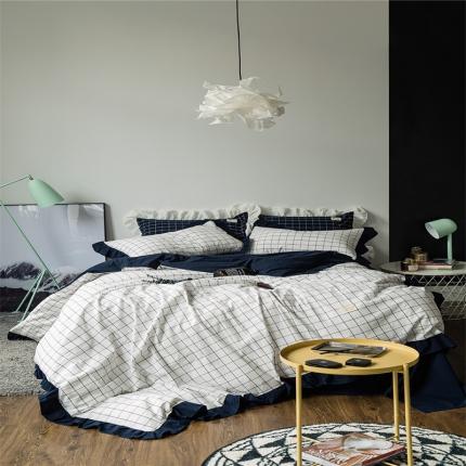 爱尚佳家纺 洛丽塔荷叶边色织水洗棉四件套床单款洛丽塔-晚秋格