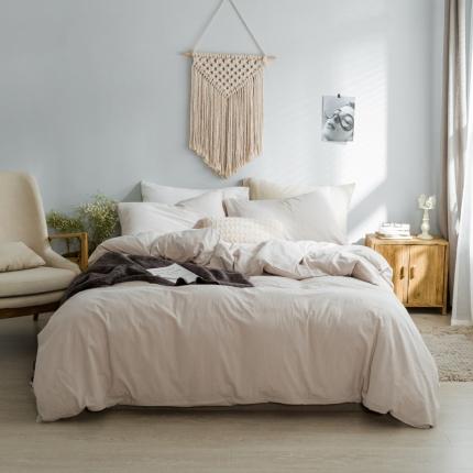 爱尚佳家纺 全棉水洗棉床单款四件套 米色