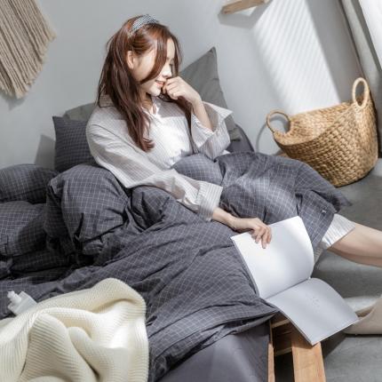 爱尚佳家纺 全棉水洗棉床单款四件套 深灰