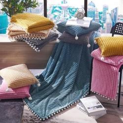 (總)海雷毯業2019新款雙層絨球毯子辦公室休閑毯毛毯
