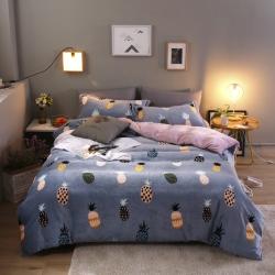 (总)齐点家纺秋冬新品保暖高克重牛奶绒床上四件套法兰绒水晶绒