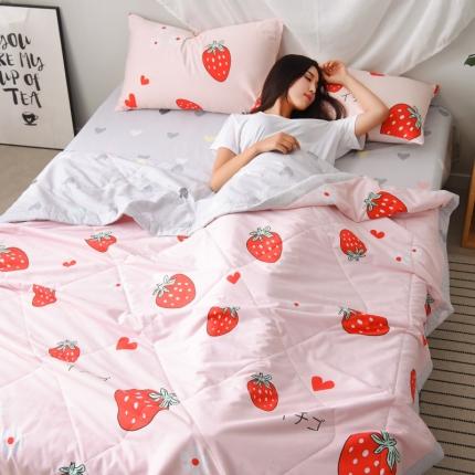 格调 2019新品全棉夏被四件套带模特图 甜心草莓