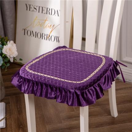 哈创家居 金丝绒餐椅垫 紫色