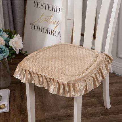 哈创家居 金丝绒餐椅垫 驼色