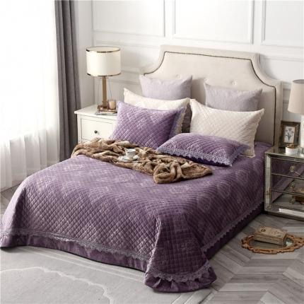 哈创家居 2019新款轻奢床盖三件套 普罗旺斯紫色