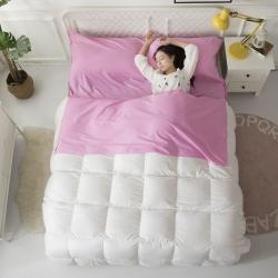 怡家居 全棉纯色隔脏睡袋 粉色