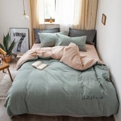 怡家居 2019純棉色織水洗刺繡簡約款四件套床單款 軍綠卡其
