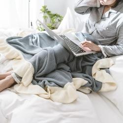 KH家纺 2019新款简索系列毛毯针织毯子线毯 蓝灰