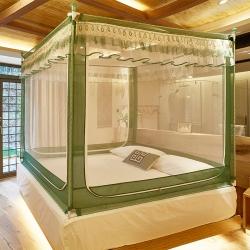 迪凡保羅5831U型外穿桿拉鏈坐床式蚊帳烤漆支架抹茶綠