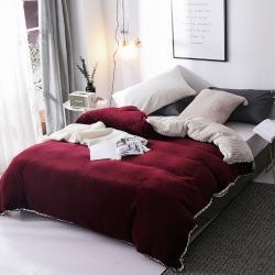 春妮家纺 法兰绒多功能两用毛毯被套 酒红色
