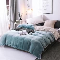 春妮家纺 法兰绒多功能两用毛毯被套 水绿色