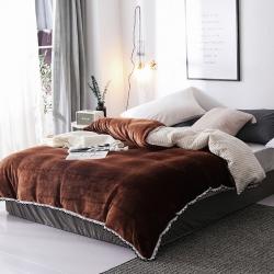 春妮家纺 法兰绒多功能两用毛毯被套 可可棕