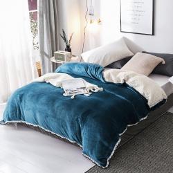春妮家纺 法兰绒多功能两用毛毯被套 湖蓝色