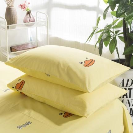 套莊家居 2019纯棉40支12868全棉印花枕套一对小黄鸭