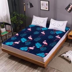 温语家纺 2018新款法莱绒保暖床垫床褥床护垫 蓝鸟