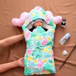 (總)吖噢 全棉紗布西松屋高密可脫膽棉花帶帽抱被 嬰童用品