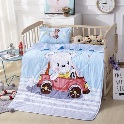 吉咪兔家纺 13372大版花全棉卡通夏被 汽车熊