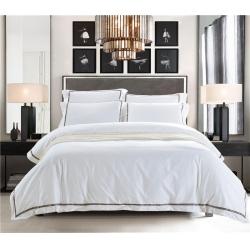 藝麥 (原藝洋)白色酒店四件套60s噴氣貢緞繡花四件套奧黛麗