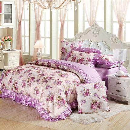 小时代家纺欧式婚庆件床盖四件套六件套浪漫时尚