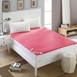 芙琳家纺 精美超柔珊瑚绒床护垫 玫红